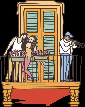 illustration fenêtre et balcon