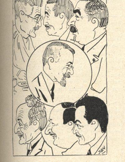 Caricature des membres du comité des traditions niçoises par le dessinateur Jan. En haut, au centre, Menica Rondelly (L'Eclaireur du dimanche, août 1925).