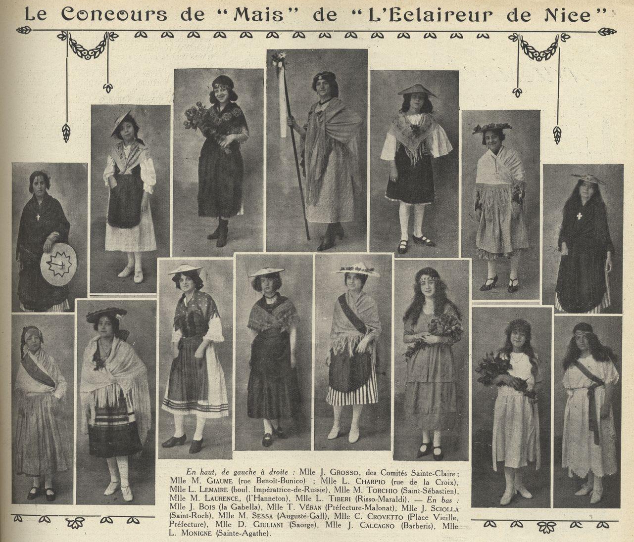 Les candidates au concours 1922 de l'Eclaireur de Nice, en blanc ou en costume niçois (Eclaireur du Dimanche)