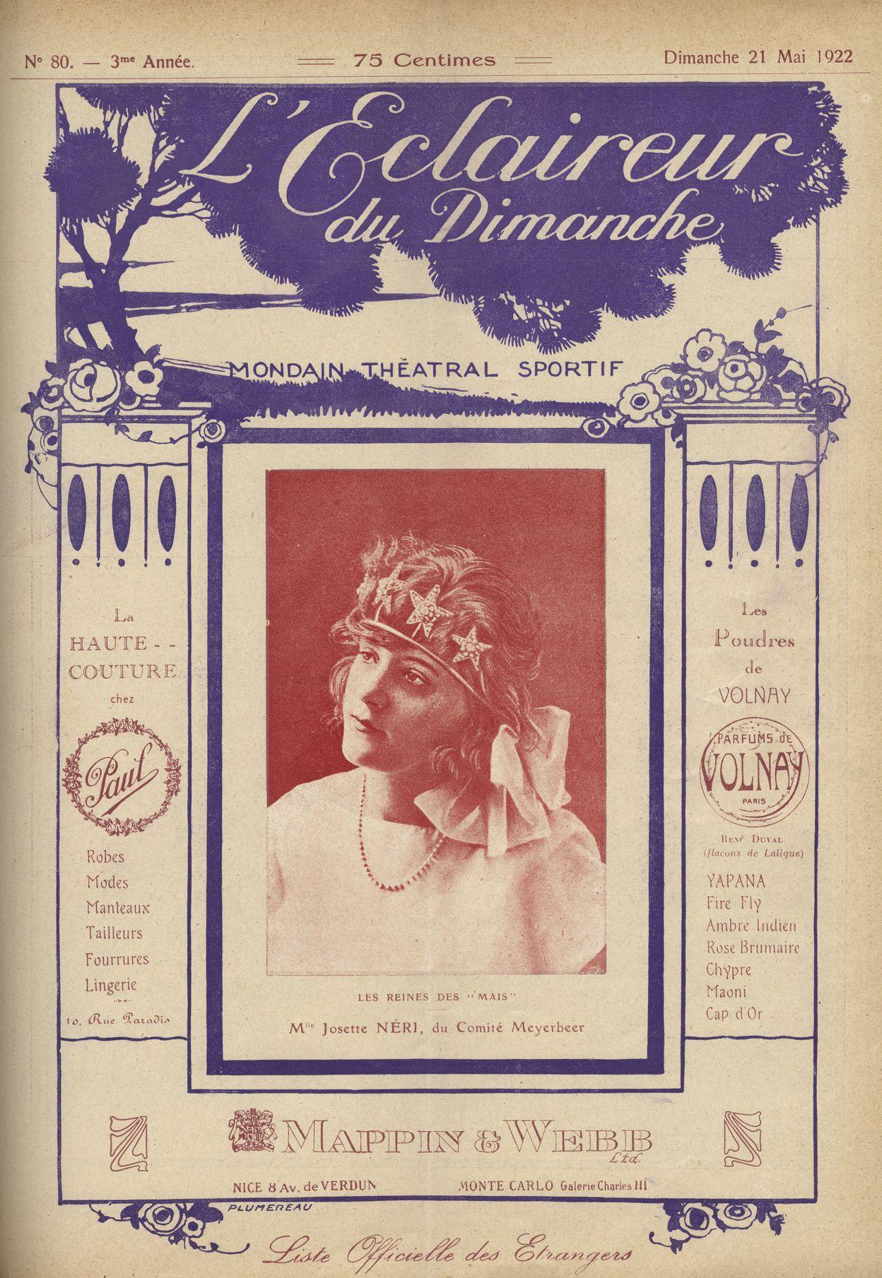Mlle Néri, candidate du comité Meyerbeer, mai 1922 (Eclaireur du Dimanche)